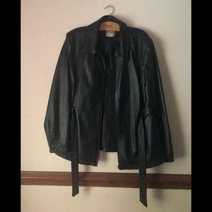 Women's Black Leather Coat